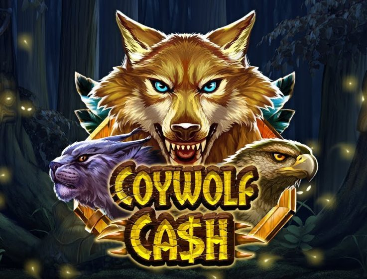 The logo of the Coywolf Cash slot machine, a wilderness-themed slot that can be played for free on playamo.net