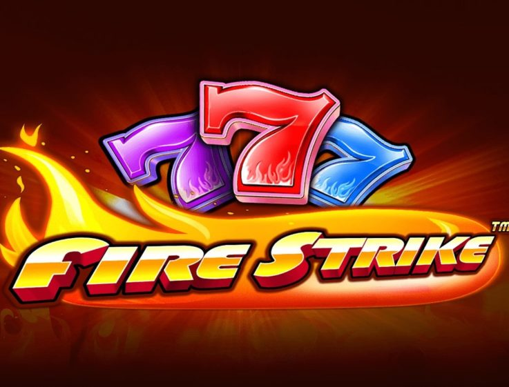 Three sevens making up the logo of Fire Strike, an online slot the free demo of which can be played on playamo.net