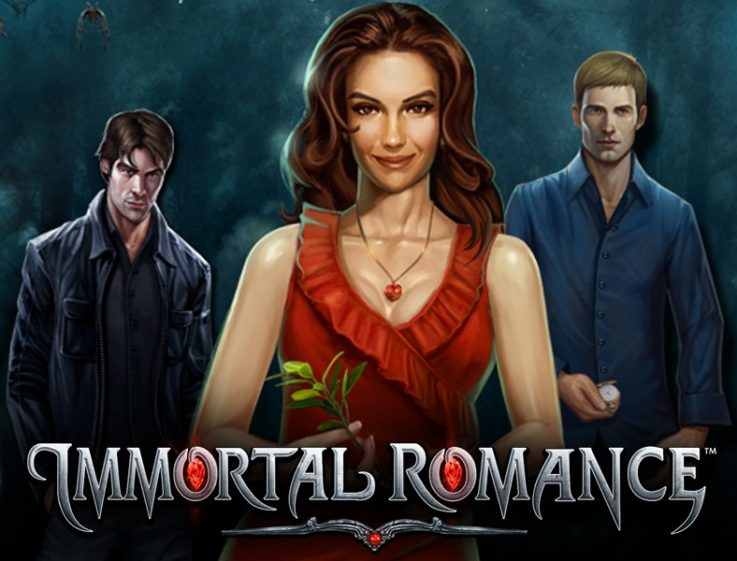 Logo of Immortal Romance, which can be played for free on playamo.net, featuring its three main characters.