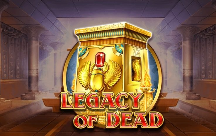 Logo of Legacy of Dead, a popular, free slot game which can be played online on playamo.net