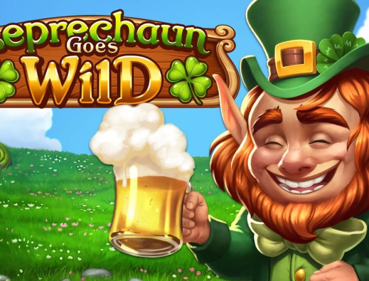 The logo and mascot of Leprechaun Goes Wild, a slot machine that can be played for free on playamo