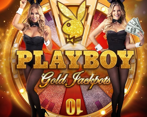 The logo for the Playboy Gold Jackpots free demo, which can be played for free on playamo.net