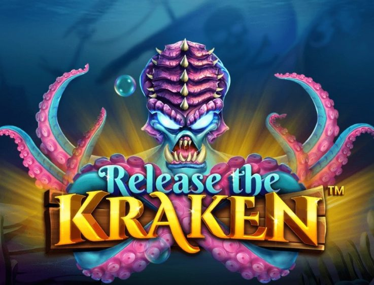 The logo of the free demo of Release the Kraken slot machine, which can be played on playamo.net