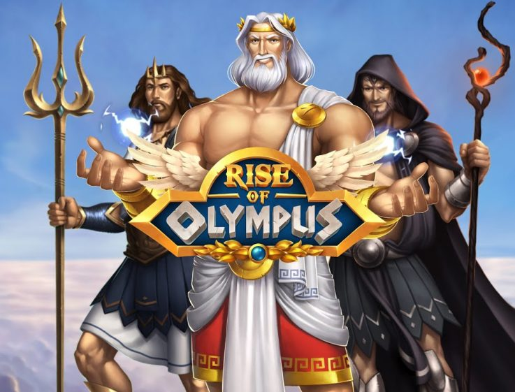 The logo of Rise of Olympus, a casino slot game you can play for free on playamo.net