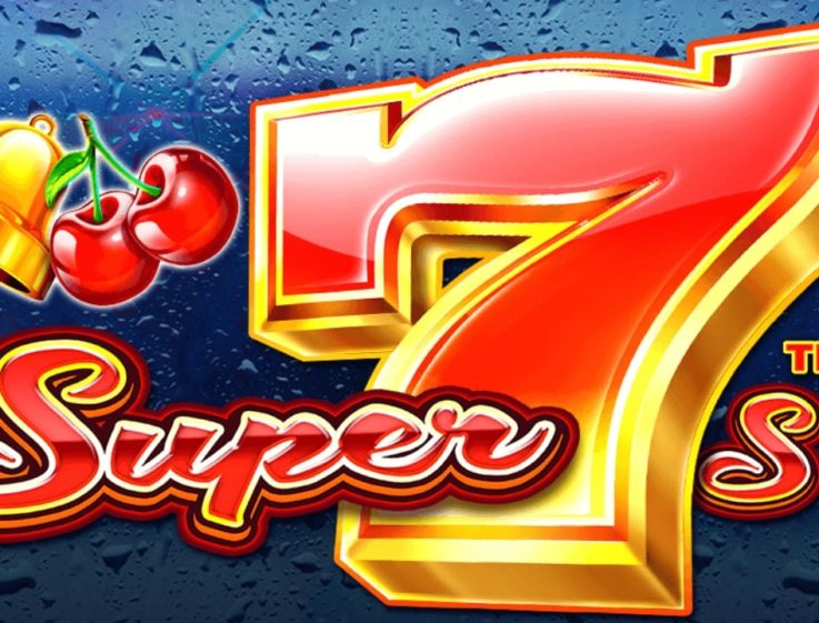 The logo of the Super 7s slot machine, which can be played for free on playamo.net