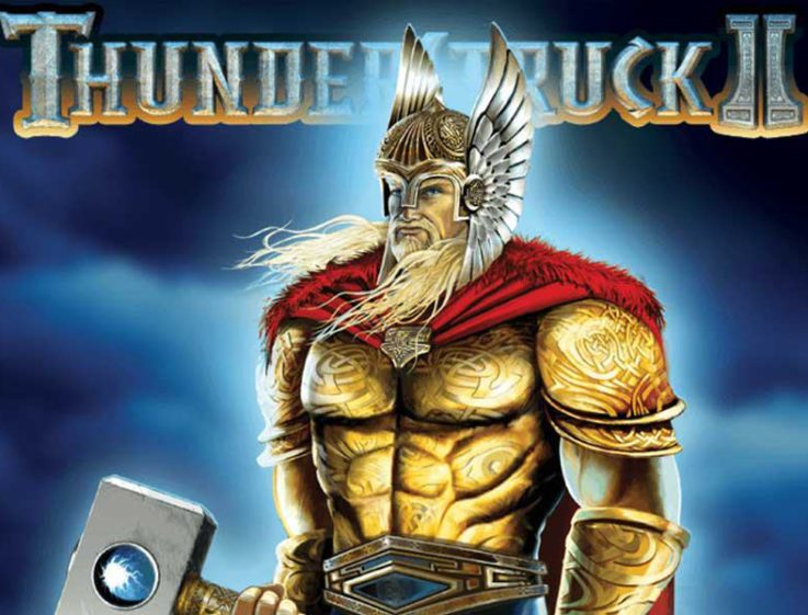 Logo for Thunderstruck 2, a slot machine from Microgaming that can be played for free on playamo.net