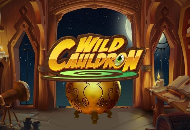 Logo of Wild Cauldron, a magic-themed online slot that can be played for free on playamo.net